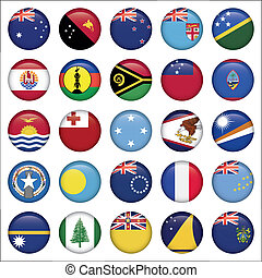 Set of Australian, Oceania Round Flag Icons