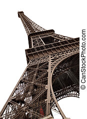 Eiffel Tower of Paris isolated on white - Curves of the...