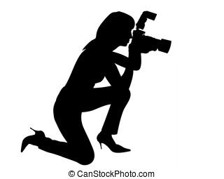 woman silhouette making photo clipping path - woman...
