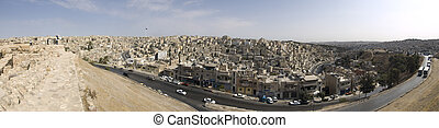 Panorama of Amman - 180 Panorama of Amman, Jordan from Roman...