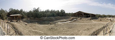 Place where Jesus was baptized in Bethany, Jordan - Panorama...