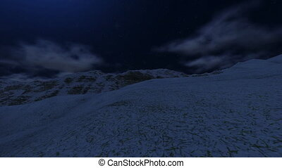 Flying Above Snowy Mountain to Moon