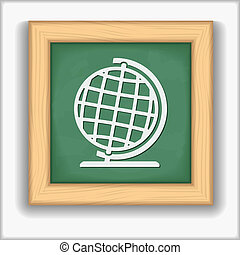 Blackboard with icon of a globe