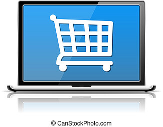 E-Commerce, laptop with icon of a shopping cart, vector...
