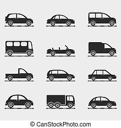 Icons of cars - Set of icons of different cars, vector eps10...
