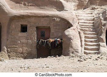 Bedouin home made of Nabatean tomb - Nabataeans capital city...