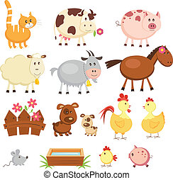 Farm animals - Set of cartoon farm animals