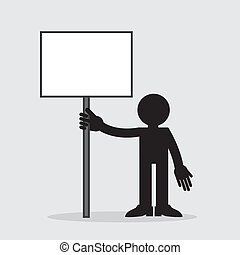 Figure Holding Blank Sign - Silhouette figure holding up a...