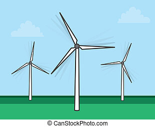 Windmills Spinning - Windmills spinning in a grassy field...