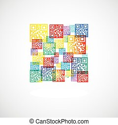 QR code rainbow collage with shadow. included EPS10 and AI10...