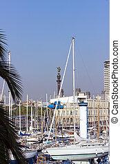 view of Port Vell. Barcelona landmark, Spain. - view of Port...