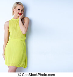 Smiling long haired blond woman posing - Smiling long haired...