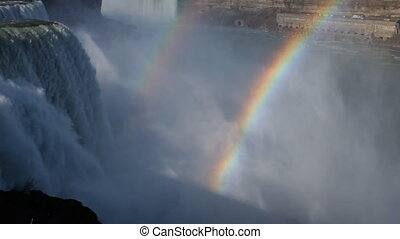 niagara falls, usa and canada with double rainbow
