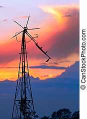 Delapidated Windmill at Sunset - Dilapidated Windmill at...