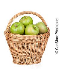 Fresh ripe green apples in basket