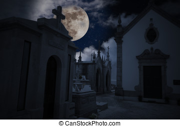 Night cemetery - Halloween night scenery with full moon,...