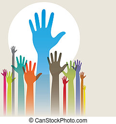 Hands Up - Vector illustration of colorful raised hands