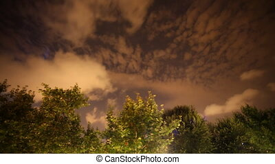 clouds moving in a sky at night