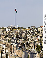 Panorama of Amman, Jordan with view to the biggest world...