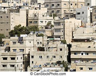 Panorama of Amman, Jordan. Urban area.