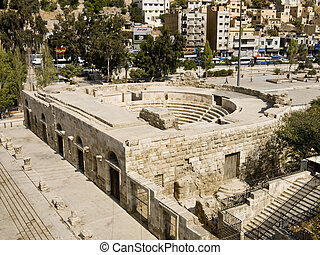 Small Roman amphitheater in Amman, Jordan - Small Roman...