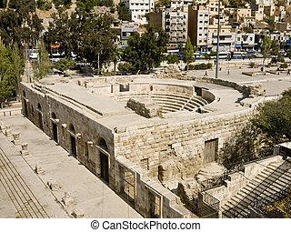 Small Roman amphitheater in Amman, Jordan - Small Roman...