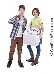 Children with  box of paper waste
