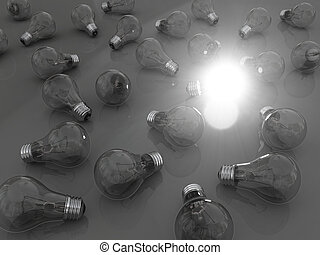 Bright idea - Concept of bright idea with lightbulbs