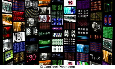 digital animation of hd screens all displaying number, time...