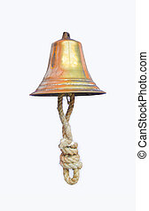 Golden bell tied with rope on white background