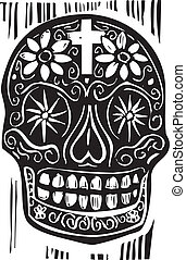 Day of the Dead Skull - Woodcut style Mexican day of the...