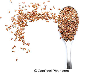 Flax seed on spoon isolated on white