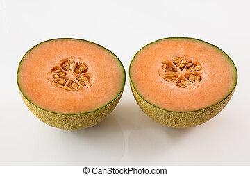 sabroso, melón, corte, dos