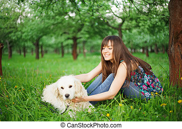 Woman play with her dog