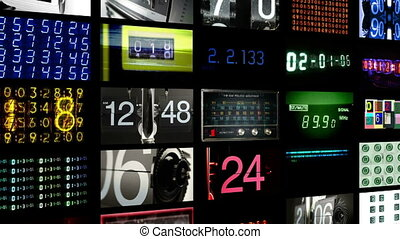 digital animation of hd screens all displaying number, time and data information. all content self created