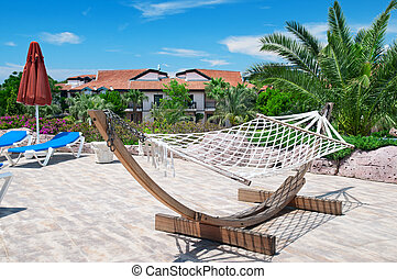 beautiful hammock in a cozy recreation area