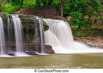 Upper Cataract Falls and Mill Ruins - The wall of an old...