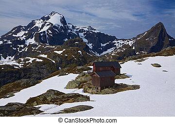 Mountain hut in Norway - Scenic mountain hut on Lofoten...