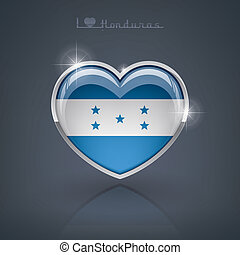 Honduras - Glossy heart shape flags of the Worlds: Republic...
