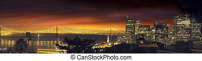 San Francisco Oakland Bay Bridge at Sunset