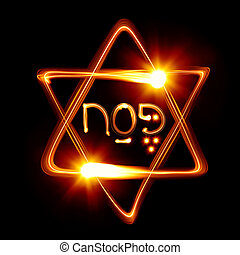 Passover - Star of David created by light
