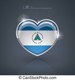 Nicaragua - Glossy heart shape flags of the Worlds: Republic...