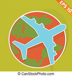 Airplane travel - Vector illustration - EPS10