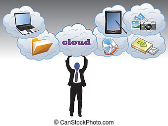 Cloud Storage - Man holding the cloud, which stores...