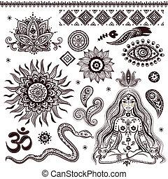 Conjunto, ornamental, indio, elementos, símbolos
