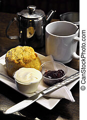 Irish cream tea; scones, cream, jam and tea