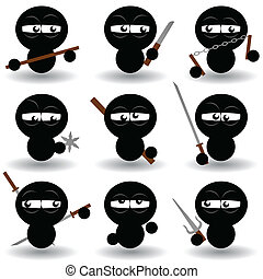 ninjas - vector set of ninjas