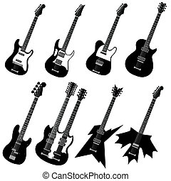 guitars - vector set of guitars