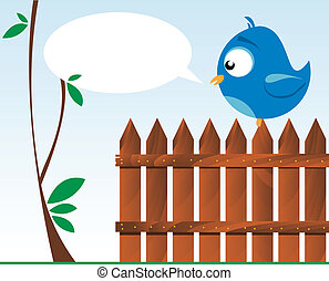 bird on a wooden fence