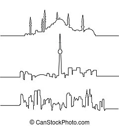 cityscape collection - vector set of cityscapes